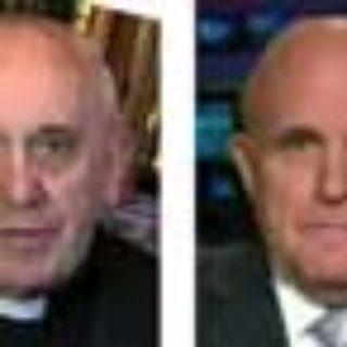 Papst Franziskus als Double von Rudolph Giuliani und Salomon Rothschild